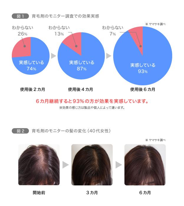 図1 育毛剤のモニター調査での効果実感/図2 育毛剤のモニターの髪の変化(40代女性)